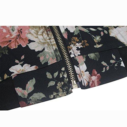 Mujers Bomber Chaqueta Floral Cremallera Empalme Manga Larga Cuello Redondo A