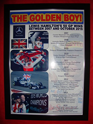 Lewis Hamilton 50 Grand Prix wins 2016 - framed -