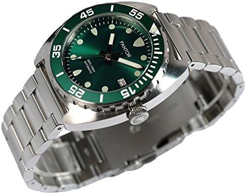 Pantor Sealion 300 m, orologio automatico professionale subacqueo con valvola elio lunetta rotante, vetro zaffiro, bracciale in acciaio inox e