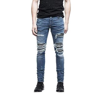 Jean Laisla Avec Fashion Homme Slim Denim Pantalon Pour Trou En JlK1cF