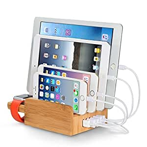 upow 5 port usb charging station dock with apple watch stand bamboo multi device. Black Bedroom Furniture Sets. Home Design Ideas