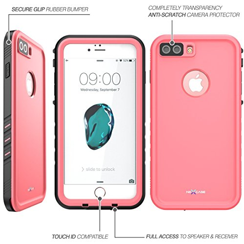 buy online b5fb0 5b954 iPhone 8 Plus Case, NexCase Waterproof Full-body Rugged Case with Built-in  Screen Protector for Apple iPhone 7 Plus 2016 / iPhone 8 Plus 2017 Release  ...