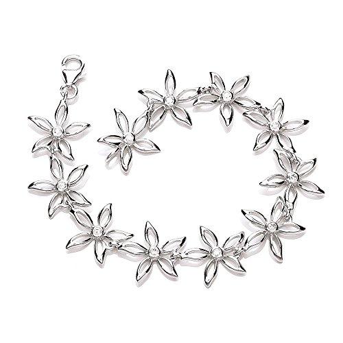 Superbe Bracelet en argent Sterling à motif Floral avec des pierres de zircone transparentes