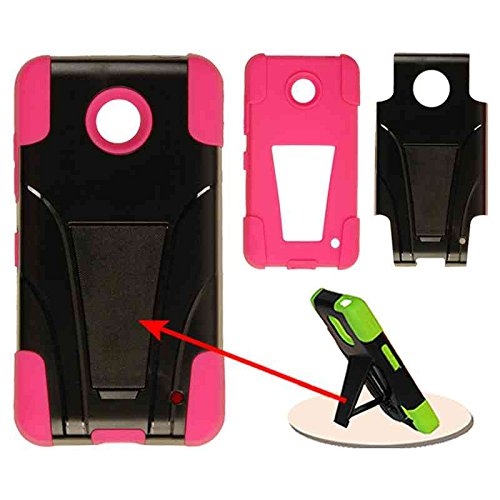 BLENDED HARD SOFT KICKSTAND CASE FOR NOKIA LUMIA NK630 NK635 AT&T, CRICKET, T-MOBILE, BOOST, SPRINT, VERIZON 03-MA-A017-G HOT PINK BLACK ()