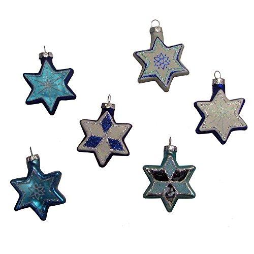 Kurt Adler Glass Jewish Stars with Glitter Ornament, Set of 6 (Jewish Ornament)