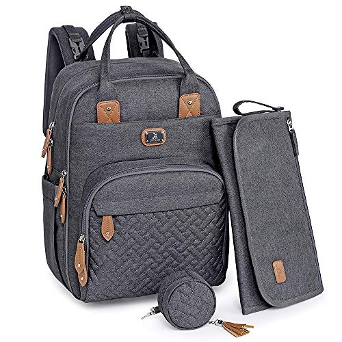 Diaper Bag Backpack with Portable Changing Pad, Pacifier Case and Stroller Straps, Dikaslon Large Unisex Baby Bags for Boys Girls, Multipurpose Travel Back Pack for Moms Dads