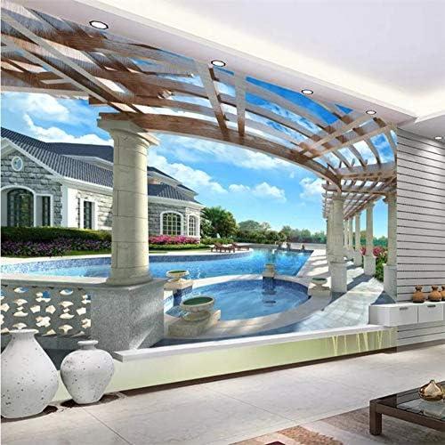 Custom 3D Wallpaper Mural Home Decor Living Room Bedroom Upscale Luxury Villa 3D Swimming Pool Mural Background,430×300Cm: Amazon.es: Bricolaje y herramientas