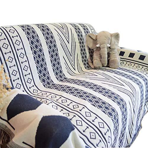 GSJJ Throws Sofa Towel Nordic Geometric Triangle Pattern Jacquard Tassel Cotton Protective Cover Living Room Blanket slipcover,B,130180cm ()