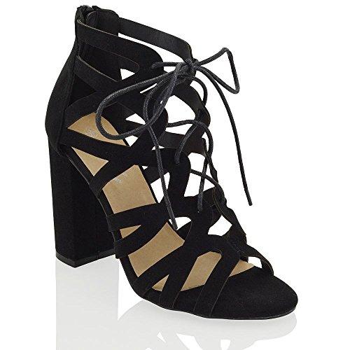 ESSEX GLAM Gamuza Sintética Sandalias de fiesta de punta abierta con tiras y tacón cuadrado Negro Gamuza Sintética