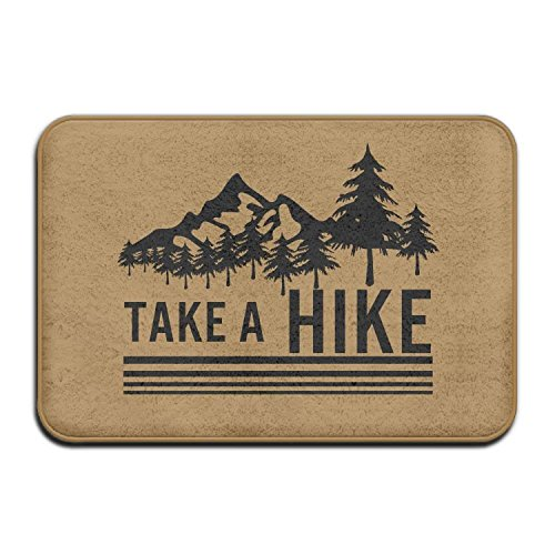 "BOLox Take A Hike Hiking Hiker Welcome Door Mat Entrance Mat Floor Mat Rug Indoor/Outdoor/Front Door/Bathroom/Kitchen Mats Rubber Super Absorbent Non Slip 24""x16"""