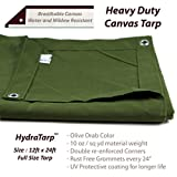 HydraTarp Canvas 12 Ft. X 24 Ft. Olive Drab Tarp - 10oz weight