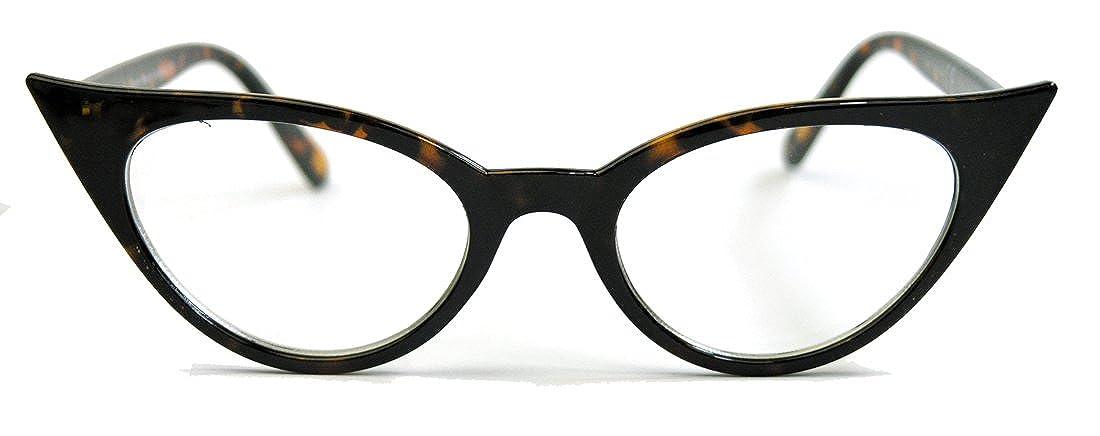 50er Jahre Damen Brille Cat Eye Nerdbrille Klarglas Hornbrille braun 73T