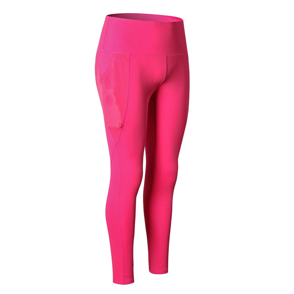 Womens Stretch Workout Leggings Fashion Mesh Pocket Quick-Drying Fitness Sports Running Yoga Athletic Pants