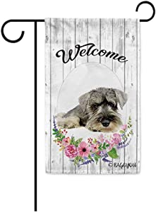 BAGEYOU Welcome Spring Summer Flowers Cute Dog Schnauzer Decorative Garden Flag Lovely Puppy Floral Seasonal Home Decor Banner for Ourside 12.5 X 18 Inch Print Double Sided