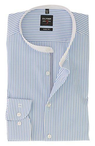OLYMP Herren Langarm Business Hemd | Serie Level 5 Body Fit mit Stehbund Kragen | Comfort Stretch Bleu Blau Gestreift Gr.44