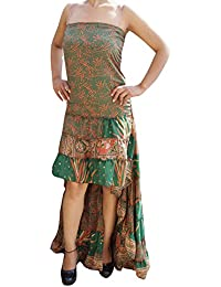 Womens Swirling Hi Low Dress Recycled Silk Ultimate Allure Flare Tiered Design Strapless Sundress M/L