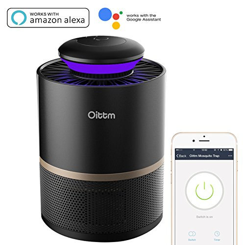 Oittm Smart Mosquito Killer, Non-toxic Indoor LED Mosquito Trap Insect Inhaler Lamp, Remote Control and Timer with smartphone, Works with Alexa, Google Home (Black)
