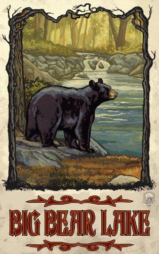 Northwest Art Mall Big Bear Lake Black Bear and Creek Artwork by Paul A. Lanquist, 11-Inch by - Black Lake Mall