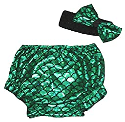 Petitebella Dress Bling Green Mermaid Fish Scales Bloomer Set for Baby 6-24m (One Size)