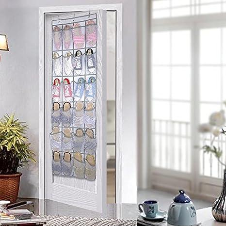 Colleer Shoe Organizer Over Door 24 Large Pocket Hanging Shoe Holder Closet Shoes Hanger with 4 Metal Hooks Mesh
