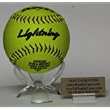Softball Personalized 3 Wing Display Stand for Game Ball with Custom Name Plate Holder - Free No Limit Engraving