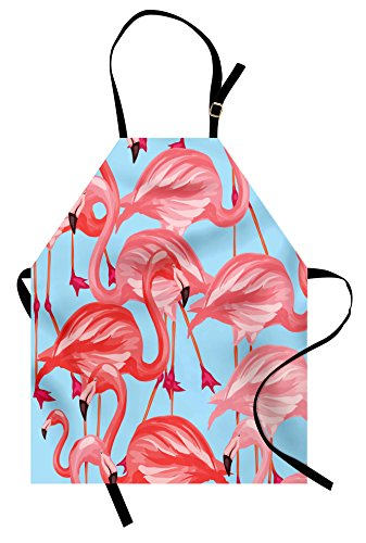 Lunarable Flamingo Apron, Tropical Birds Pattern Flamingos Colorful Exotic Animal Nature Artwork, Unisex Kitchen Bib Apron with Adjustable Neck for Cooking Baking Gardening, Coral and Pale Blue (Coral Flamingo)