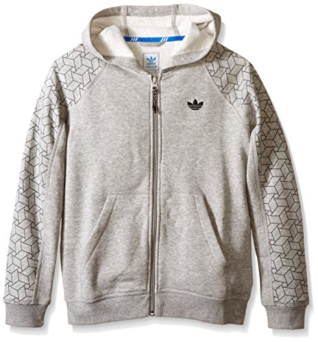 (adidas Originals Boys' Active Zip Hoodie, Medium Grey Heather Print, Small)