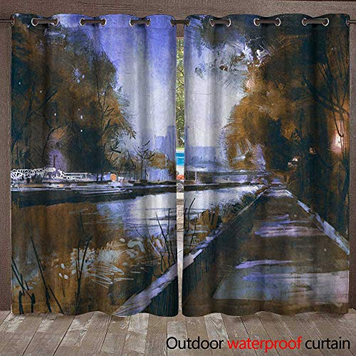 BlountDecor Grommet Curtain Panel Riverside Walkway in a Tranquil City Waterproof CurtainW120 x L96