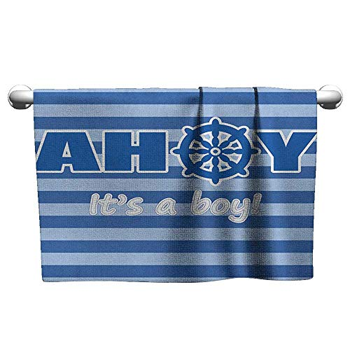 Flowered Ahoy Its a Boy,Baby Shower New Birth Announcement Marine Wheel Striped Backdrop, Pale Blue Blue White,Hooded Beach Towel for Toddler