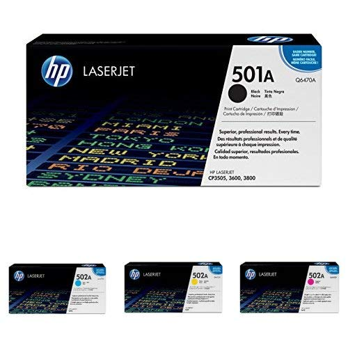 HP 501A Black and 502A Cyan, Magenta, Yellow Toner Cartridges (Q6470A, Q6471A, Q6472A, Q6473A) for HP Color LaserJet 3600 3800 CP3505, 4 Cartridge Bundle