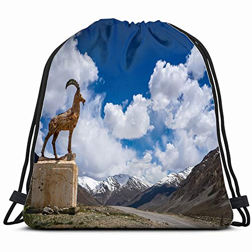 Pamir Highway M 41 Second Highest Nature Drawstring Backpack Sports Gym Bag For Women Men Children Large Size With Zipper And Water Bottle Mesh -