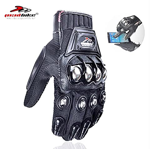 Steel Reinforced Knuckle Motorcycle Motorbike Touch Screen Powersports Racing Textile Safety Gloves - Textile Motorcycle Gloves