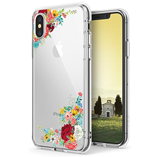 Case for iPhone X,Flyeri Crystal Fashion Floral Pattern Transparent Clear Soft Silicone TPU Ultra Thin Phone Cover Back Cases for Apple iPhone X (1)