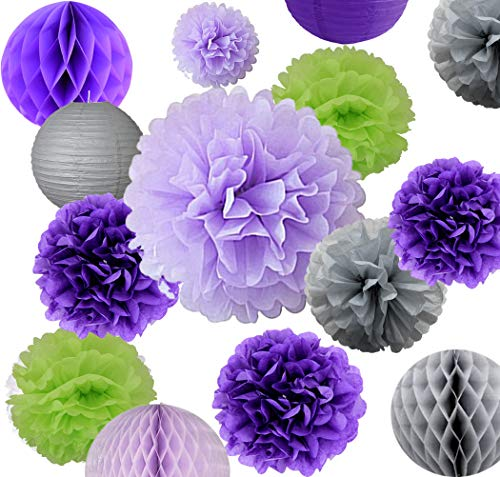 - AVAbay 18pcs Party Hanging Tissue Paper Decoration Set for Birthday-Purple Shades Décor-12