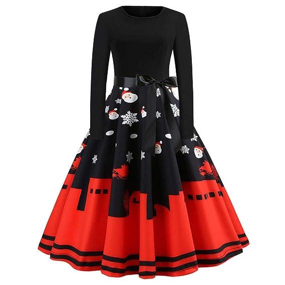 025def421 BBestseller-Vestidos de la Vendimia de la Impresión Cuello Redondo Manga  Larga del Navidad Vestidos de Fiesta Vestir Skirt Falda de Las Mujeres   Amazon.es  ...