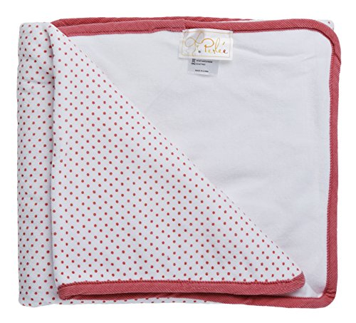 - Perlee Newborn Baby Girls Cotton Velour Polka Dotted Swaddle Receiving Blanket - Pink