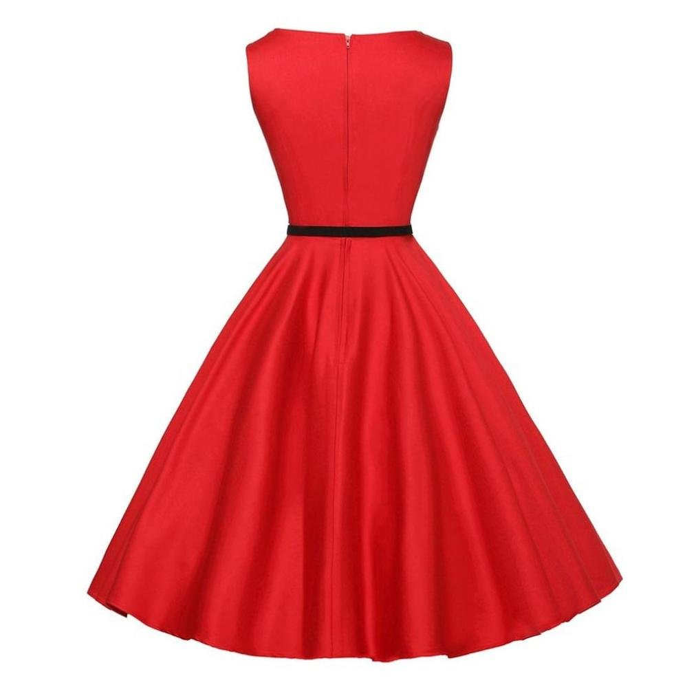 Veepola Women Dress,Girl Vintage Elegant Sleeveless Party Prom Midi Swing Dress