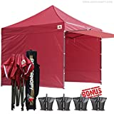 AbcCanopy 10 x 10 BURGUNDY Ez Pop up Canopy Ourdoor Party Tent Gazebo With 3 Removable Zipper Sidewalls and 1 Removable Zipper Doorwall BOUNS Canopy awning and Roller Bag
