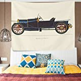 ALAZA Vintage Exquisite Antique Classic Old Caraged car Decor Collection Tapestry Wall Hanging Artwork Light-weight Polyester Fabric Cottage Dorm Wall Art Home Decoration 60x40 Inches