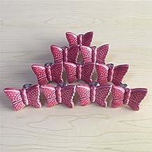 SunKni 33mm 10Pcs Butterfly Knobs Ceramic Drawer Handles Pulls for Kids Girls Kitchen Furniture Door Cabinet Dresser Closet Wardrobe Cupboard Vanities with Screws New Sets Pack of 10 (Purple)
