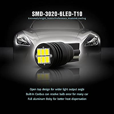 SIRIUSLED Extremely Bright 400 Lumens 3020 Chipset Canbus Error Free LED Bulbs for Interior Car Lights License Plate Dome Map Side Marker Courtesy T10 168 194 2825 W5W 6000K Xenon White: Automotive