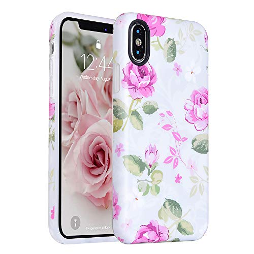 iPhone-X-Case-KIMICO-Girls-Floral-Series-designShockproofSupports-Wireless-ChargingSlim-FitAnti-ScratchAnti-fingerprints-Flexible-TPU-Gel-Protective-Cover