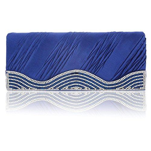 Mujer Noche Plisado Encaje Magnéticos Baile Cristal De Satén De De Damara Para Bolso Azul De De qU5aav