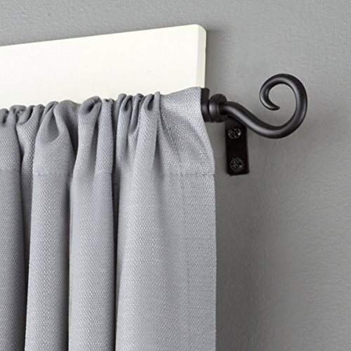 Kenney Medieval Hook Window Curtain Rod, 48 to 86-Inch, Black (Poles Curtain)