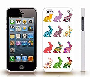 iStar Cases? iPhone 5/5S Case with Rabbit Patterns, Rabbit Silhouettes filled with Colorful Patterns , Snap-on Cover, Hard Carrying Case (White)