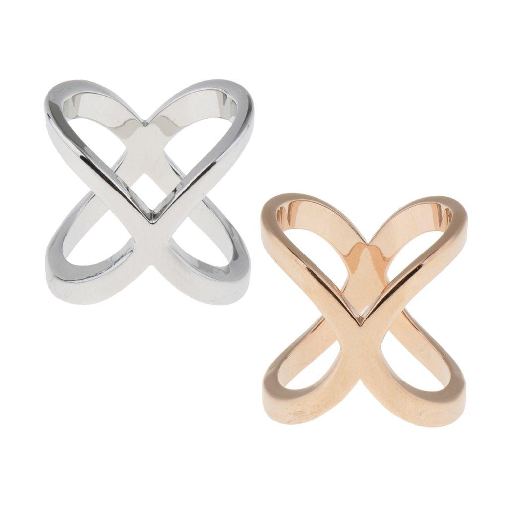 MagiDeal 2 Pieces Unique Silk Chiffon Scarf Clips Rings Cross Holder Cross Shape non-brand