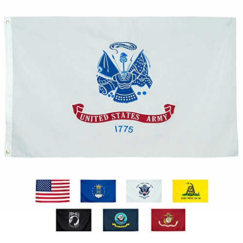 Front Line Flags US Army Flag, Heavy Duty & Double-Sided | Embroidered for Inside/Outside Use| UV Protected Long Lasting Nylon | Brass Grommets for Easy Display USA Army Flag, 3x5 foot