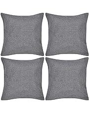 Kussenhoezen linnen look 40 x 40 cm antraciet 4 stuksHuis tuin Woon- tuinaccessoires Sierkussens