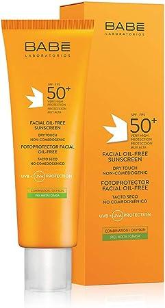 Laboratorios Babé - Fotoprotector Facial Oil-Free 50 ml, Muy Alta Protección Solar, Crema Solar Para el Rostro, Piel Mixta, Piel Grasa, Acné Facial, Calmante, Antioxidante, Sin Aceites, Matificante