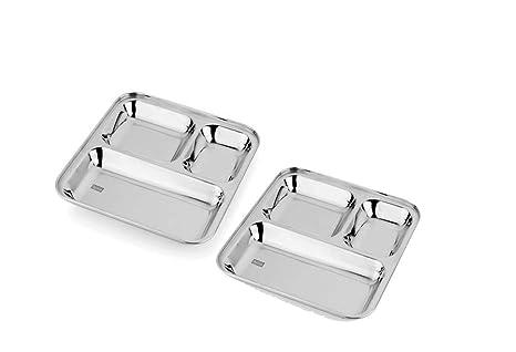 Amazon.com: Juego de platos cuadrados de acero inoxidable ...